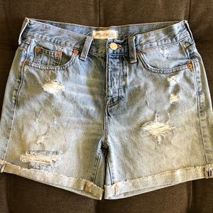 Madewell High Rise Distressed Denim Shorts